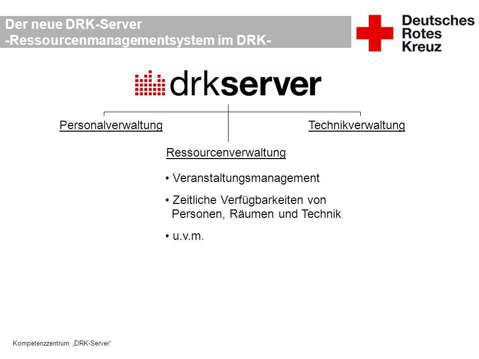 """Kompetenzzentrum """"DRK-Server"""" Der neue DRK-Server -Ressourcenmanagementsystem im DRK- PersonalverwaltungTechnikverwaltung Ressourcenverwaltung Veranst"""