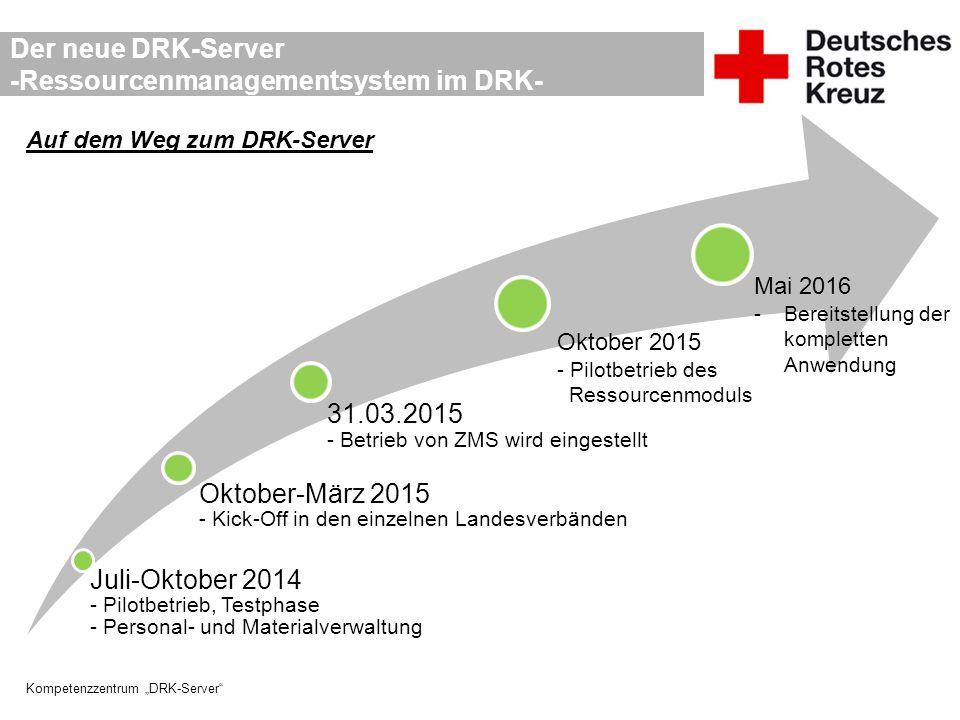 """Kompetenzzentrum """"DRK-Server"""" Der neue DRK-Server -Ressourcenmanagementsystem im DRK- Auf dem Weg zum DRK-Server Juli-Oktober 2014 - Pilotbetrieb, Tes"""