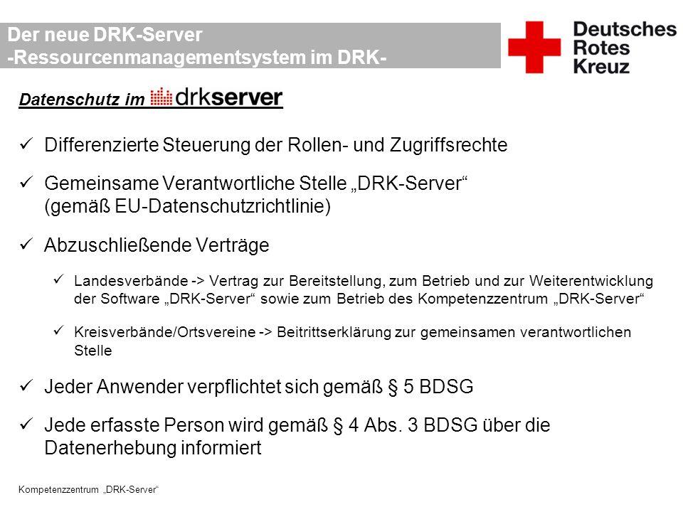 """Kompetenzzentrum """"DRK-Server"""" Der neue DRK-Server -Ressourcenmanagementsystem im DRK- Datenschutz im_______________ Differenzierte Steuerung der Rolle"""