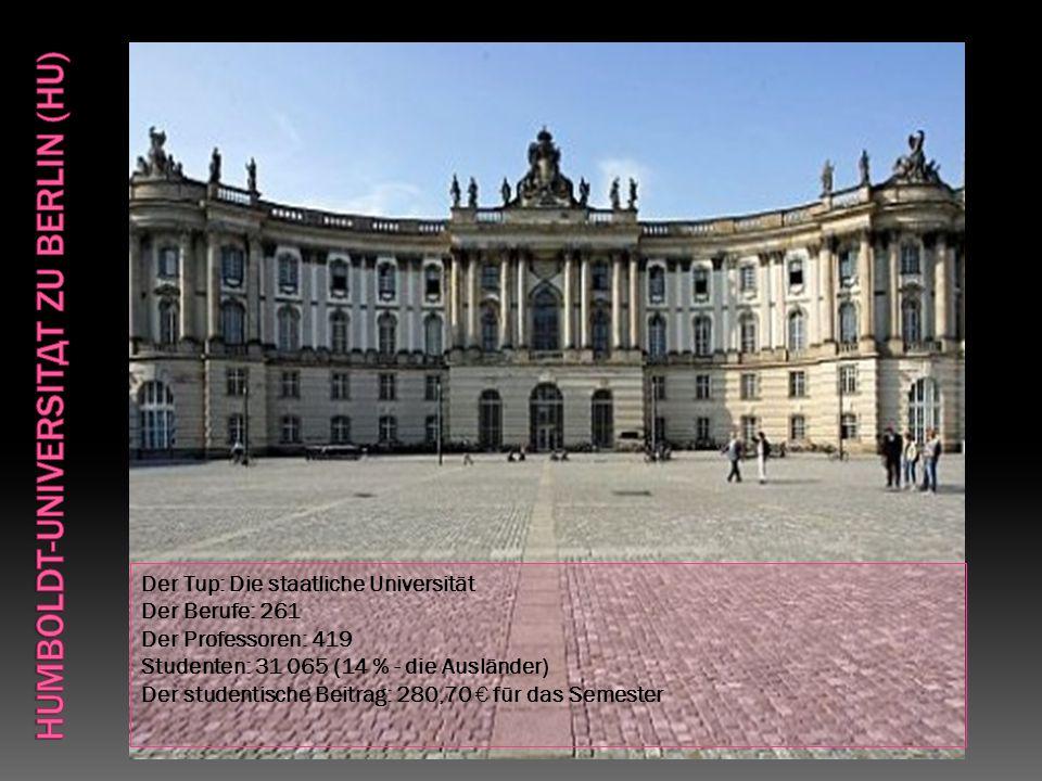 Der Tup: Die staatliche Universität Der Berufe: 261 Der Professoren: 419 Studenten: 31 065 (14 % - die Ausländer) Der studentische Beitrag: 280,70 € für das Semester