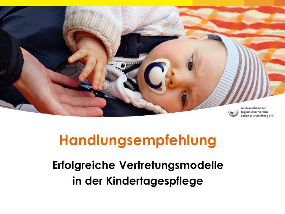 Erfolgreiche Vertretungsmodelle in der Kindertagespflege Handlungsempfehlung