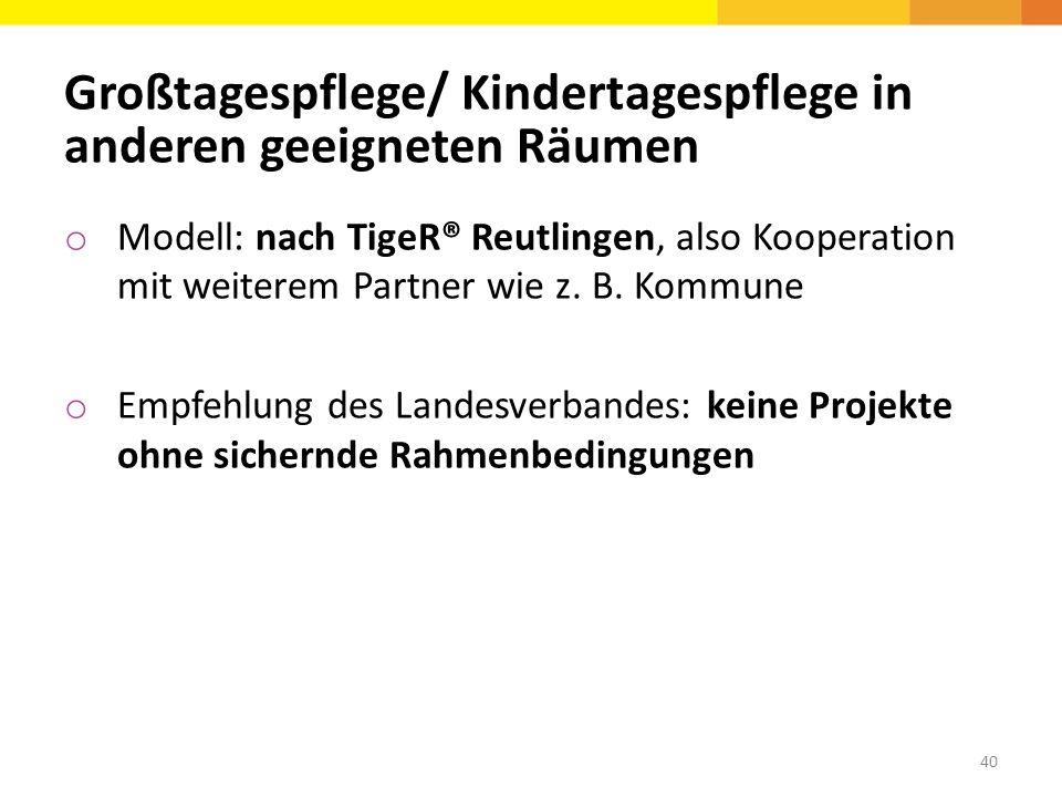 Großtagespflege/ Kindertagespflege in anderen geeigneten Räumen o Modell: nach TigeR® Reutlingen, also Kooperation mit weiterem Partner wie z. B. Komm