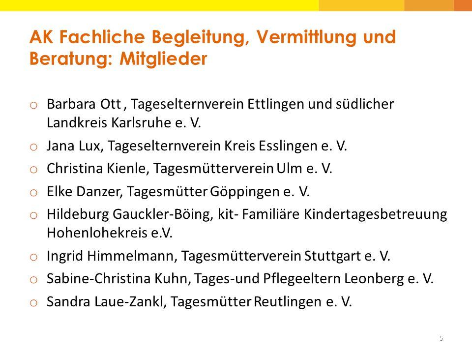 AK Fachliche Begleitung, Vermittlung und Beratung: Mitglieder o Barbara Ott, Tageselternverein Ettlingen und südlicher Landkreis Karlsruhe e. V. o Jan