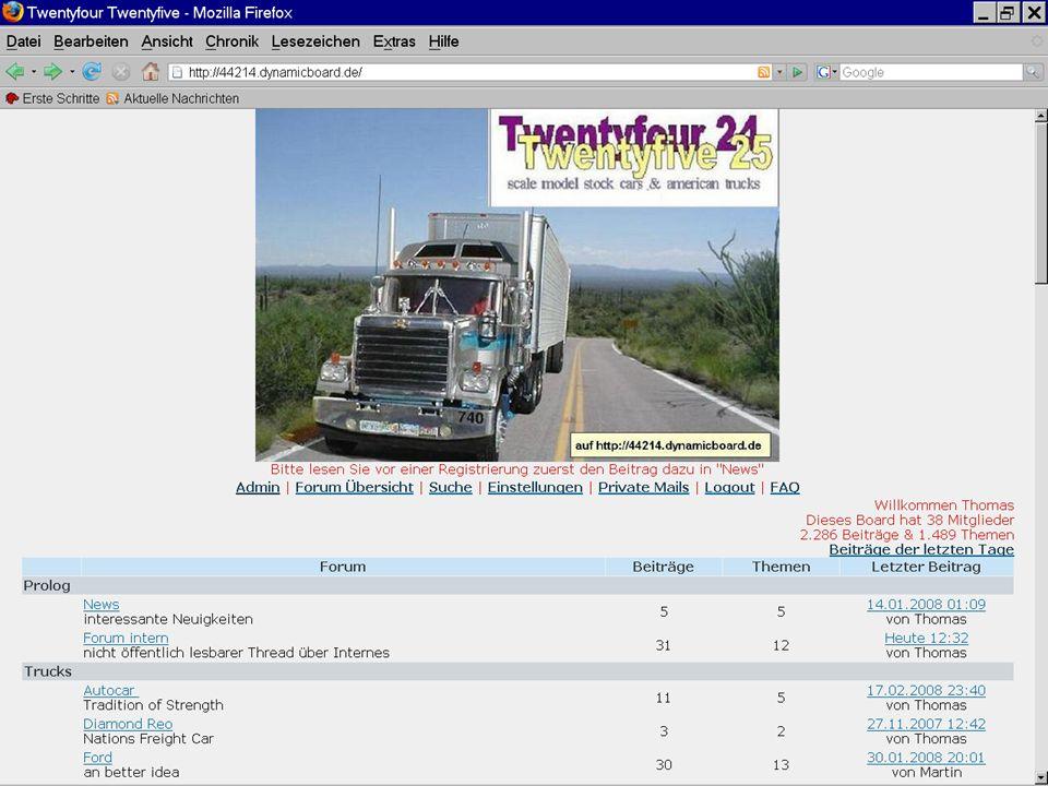 """25 Arbeiten im Forum Beim Zurückspringen in die Rubrik """"Freightliner wird der neue Beitrag jetzt an oberster Stelle gezeigt und ist für alle Besucher der Seite zugänglich."""
