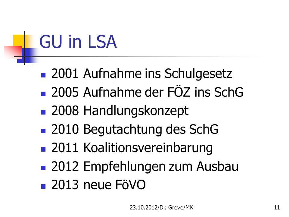 GU in LSA 2001 Aufnahme ins Schulgesetz 2005 Aufnahme der FÖZ ins SchG 2008 Handlungskonzept 2010 Begutachtung des SchG 2011 Koalitionsvereinbarung 20