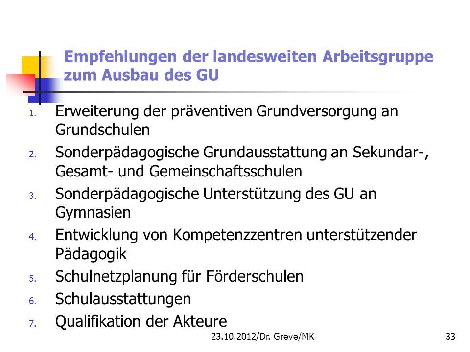 Empfehlungen der landesweiten Arbeitsgruppe zum Ausbau des GU 1. Erweiterung der präventiven Grundversorgung an Grundschulen 2. Sonderpädagogische Gru