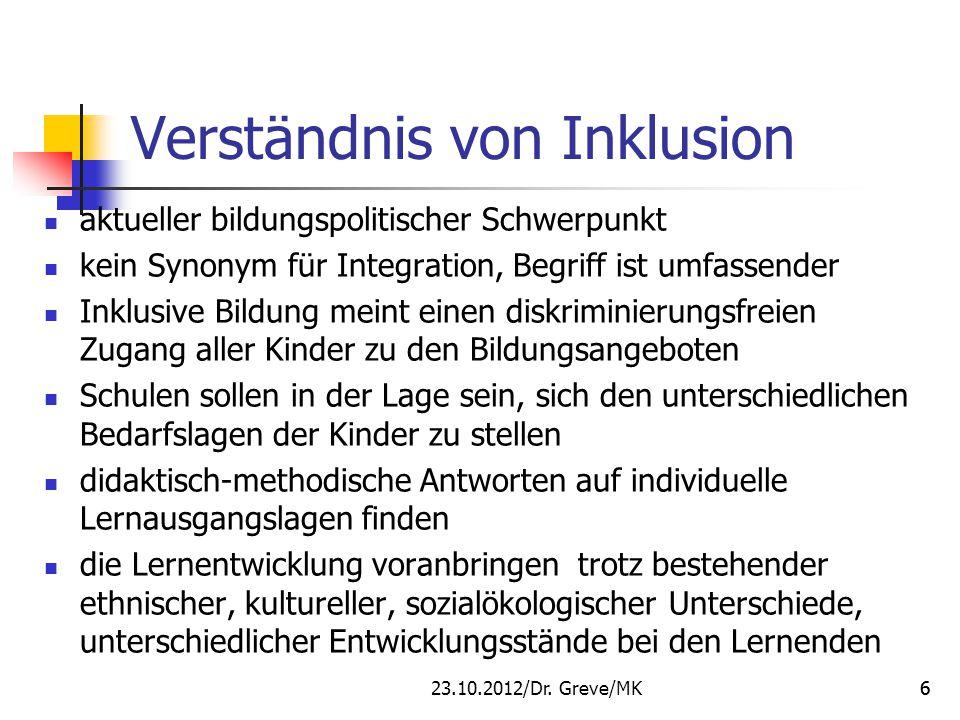 Verständnis von Inklusion aktueller bildungspolitischer Schwerpunkt kein Synonym für Integration, Begriff ist umfassender Inklusive Bildung meint eine
