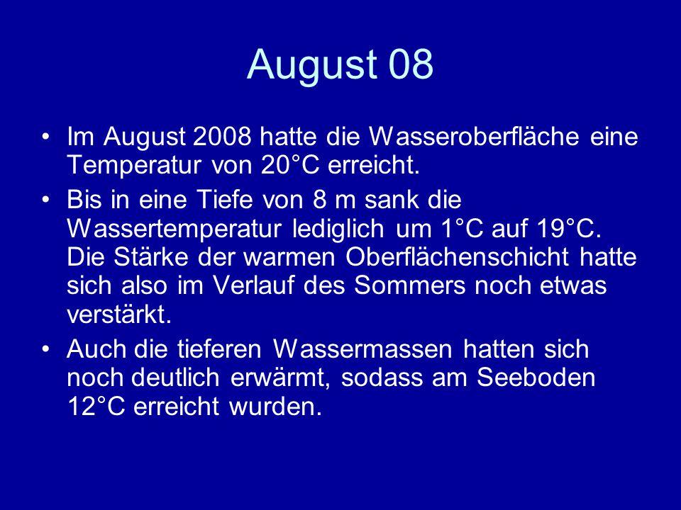 August 08 Im August 2008 hatte die Wasseroberfläche eine Temperatur von 20°C erreicht.