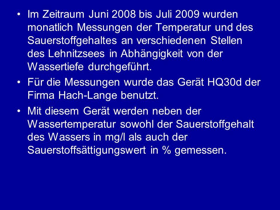 Im Zeitraum Juni 2008 bis Juli 2009 wurden monatlich Messungen der Temperatur und des Sauerstoffgehaltes an verschiedenen Stellen des Lehnitzsees in Abhängigkeit von der Wassertiefe durchgeführt.