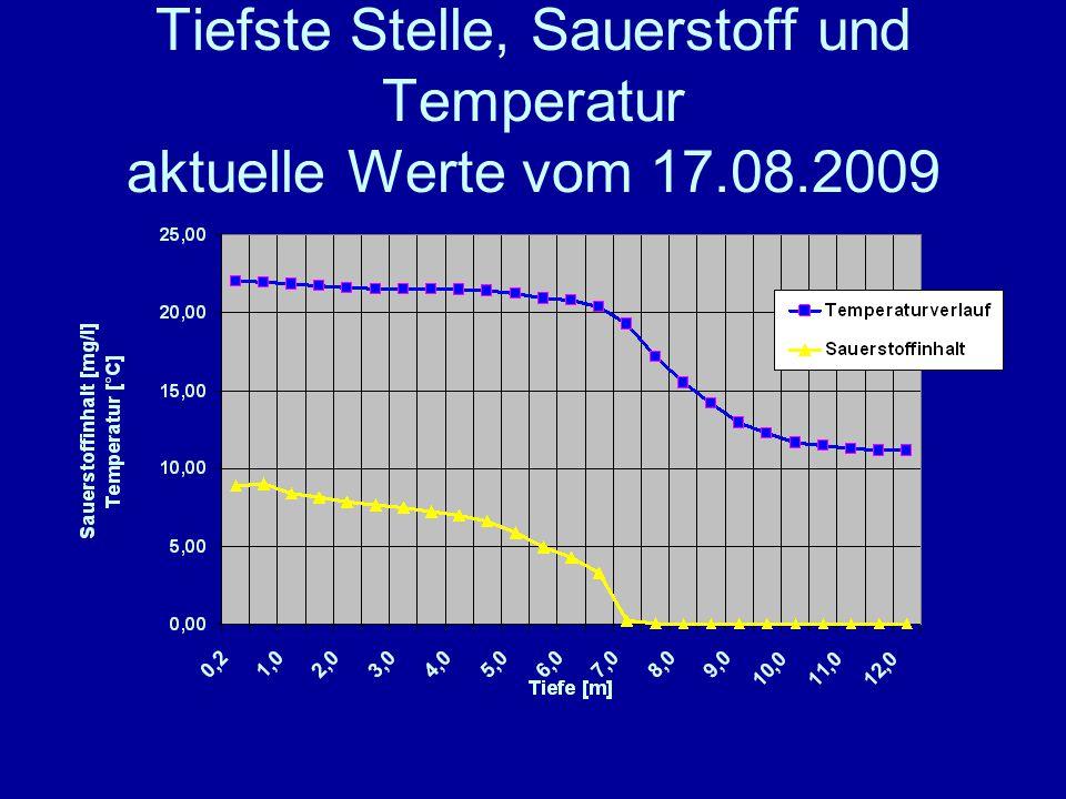 Tiefste Stelle, Sauerstoff und Temperatur aktuelle Werte vom 17.08.2009