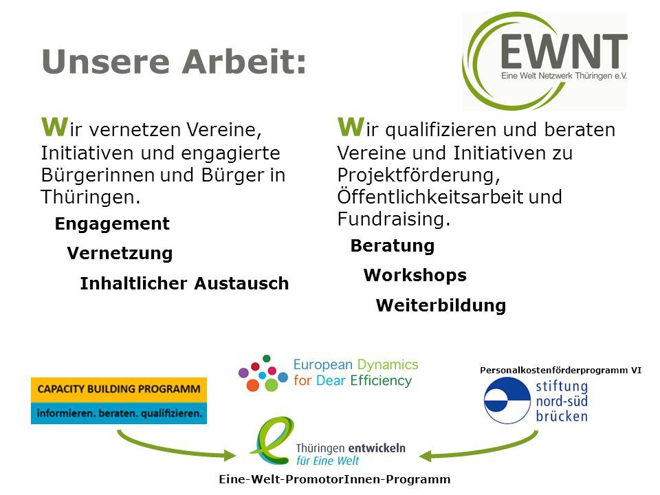 Unsere Arbeit: W ir vernetzen Vereine, Initiativen und engagierte Bürgerinnen und Bürger in Thüringen. Engagement Vernetzung Inhaltlicher Austausch W