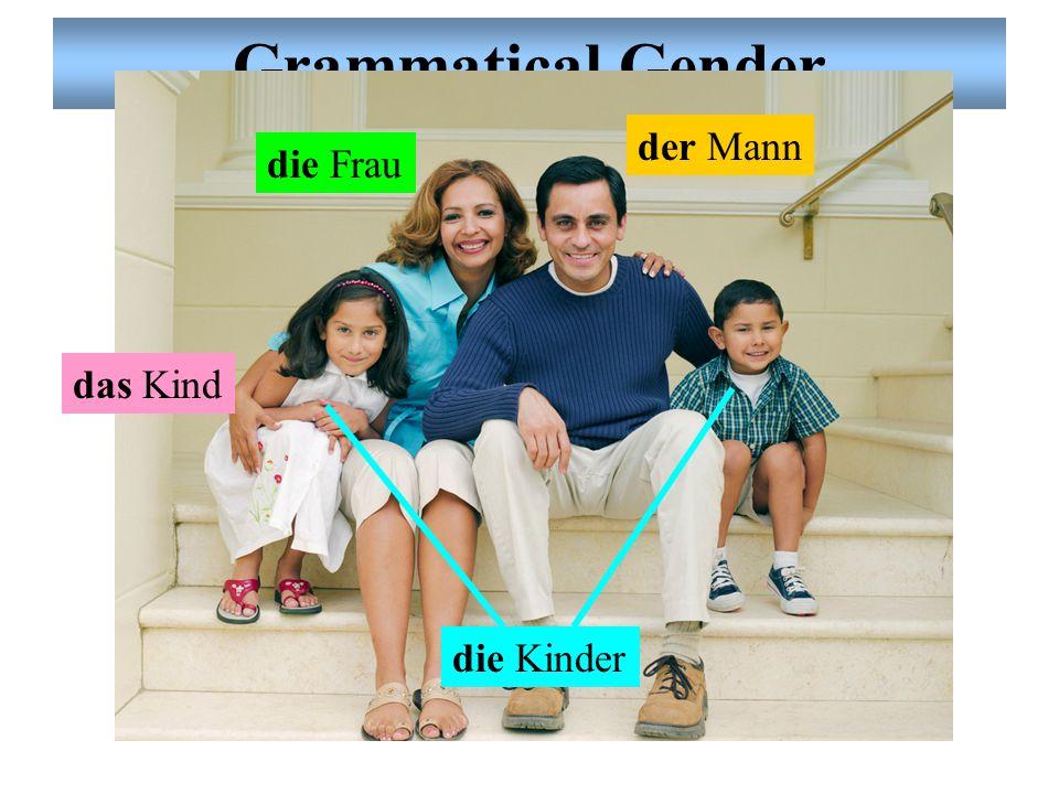 Grammatical Gender der Mann die Frau die Kinder das Kind