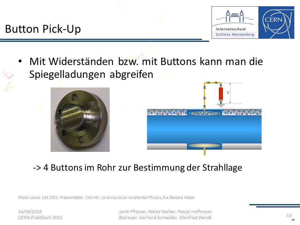Button Pick-Up Mit Widerständen bzw. mit Buttons kann man die Spiegelladungen abgreifen -> 4 Buttons im Rohr zur Bestimmung der Strahllage 24/04/2015