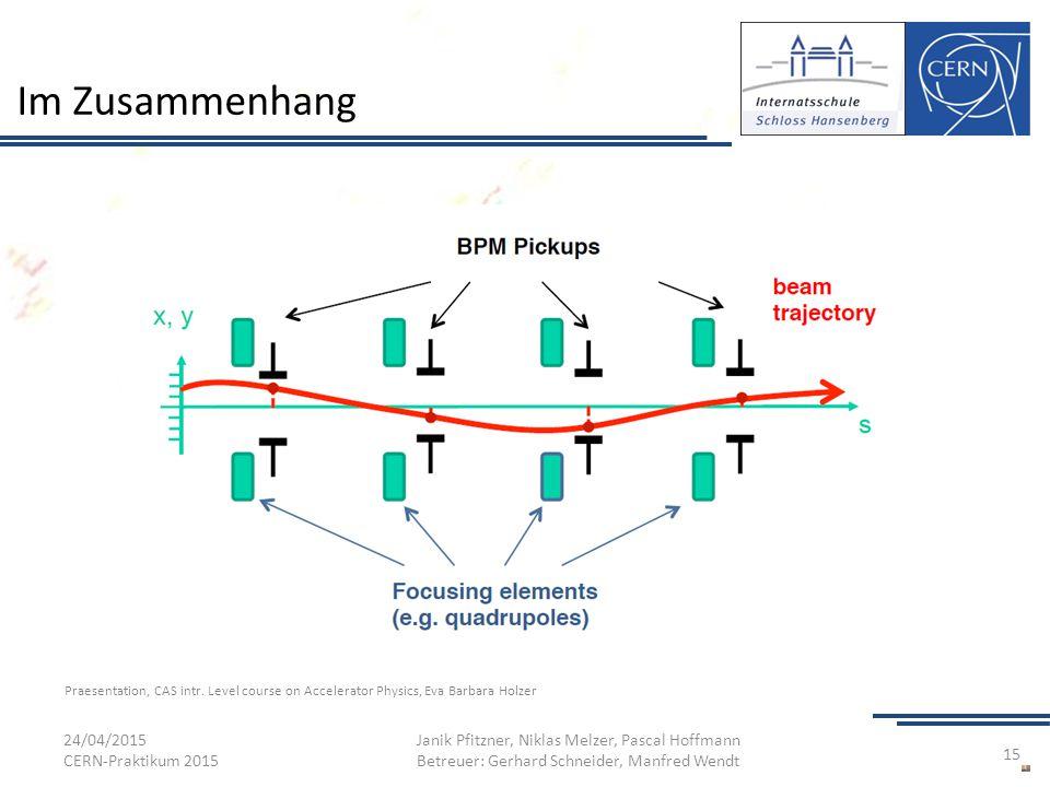 Im Zusammenhang 24/04/2015 CERN-Praktikum 2015 Janik Pfitzner, Niklas Melzer, Pascal Hoffmann Betreuer: Gerhard Schneider, Manfred Wendt 15 Praesentat