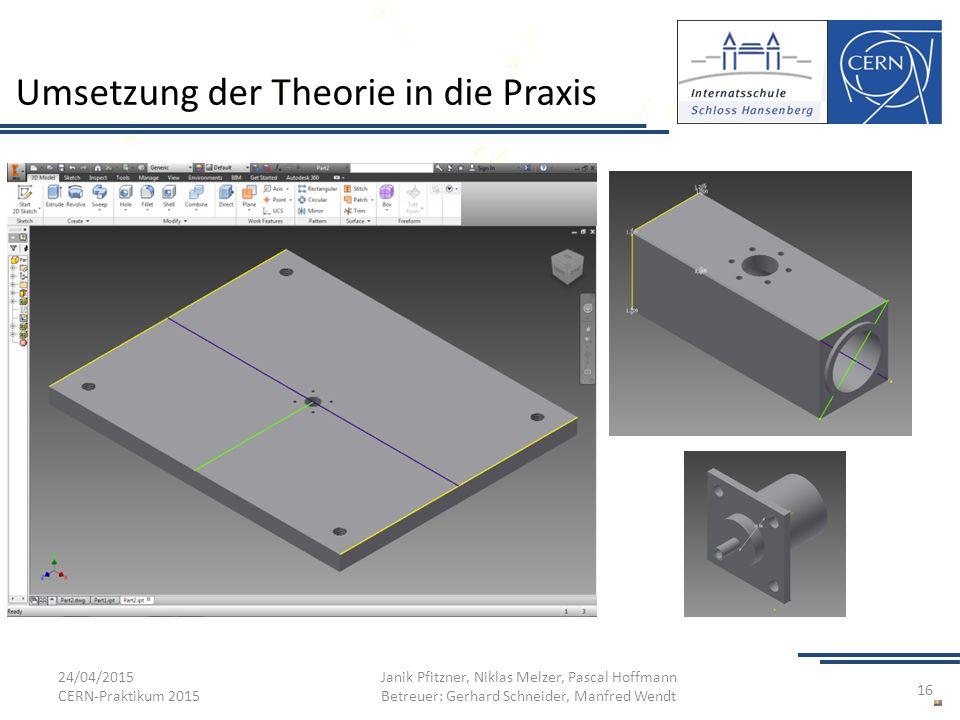 Umsetzung der Theorie in die Praxis 24/04/2015 CERN-Praktikum 2015 Janik Pfitzner, Niklas Melzer, Pascal Hoffmann Betreuer: Gerhard Schneider, Manfred