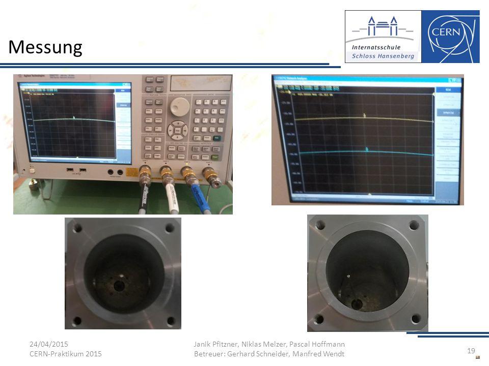 Messung 24/04/2015 CERN-Praktikum 2015 Janik Pfitzner, Niklas Melzer, Pascal Hoffmann Betreuer: Gerhard Schneider, Manfred Wendt 19