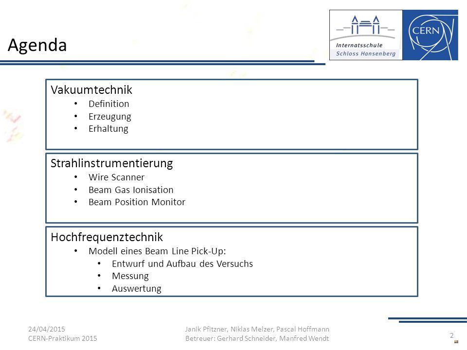 Agenda 24/04/2015 CERN-Praktikum 2015 Janik Pfitzner, Niklas Melzer, Pascal Hoffmann Betreuer: Gerhard Schneider, Manfred Wendt 2 Vakuumtechnik Defini