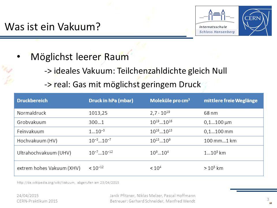 Was ist ein Vakuum? Möglichst leerer Raum -> ideales Vakuum: Teilchenzahldichte gleich Null -> real: Gas mit möglichst geringem Druck 24/04/2015 CERN-
