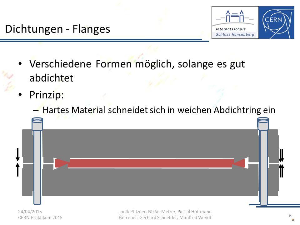 Dichtungen - Flanges Verschiedene Formen möglich, solange es gut abdichtet Prinzip: – Hartes Material schneidet sich in weichen Abdichtring ein 24/04/