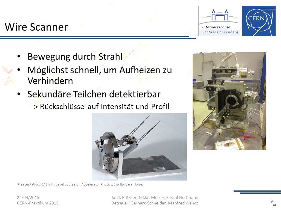 Wire Scanner Bewegung durch Strahl Möglichst schnell, um Aufheizen zu Verhindern Sekundäre Teilchen detektierbar -> Rückschlüsse auf Intensität und Pr