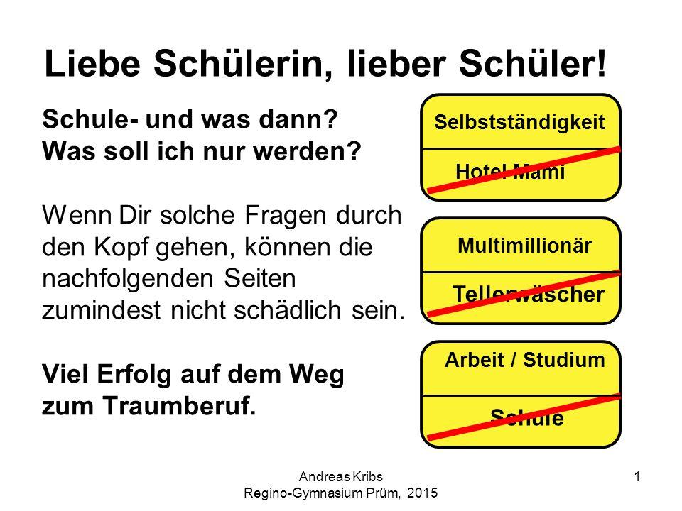 Andreas Kribs Regino-Gymnasium Prüm, 2015 22 Weitere hilfreiche Internetadressen www.kursnet.arbeitsagentur.de Auf dieser Seite können Sie sich u.