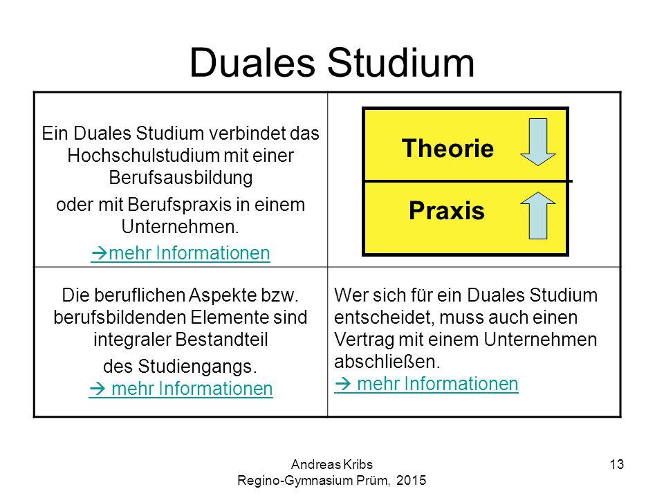 Andreas Kribs Regino-Gymnasium Prüm, 2015 13 Duales Studium Ein Duales Studium verbindet das Hochschulstudium mit einer Berufsausbildung oder mit Beru