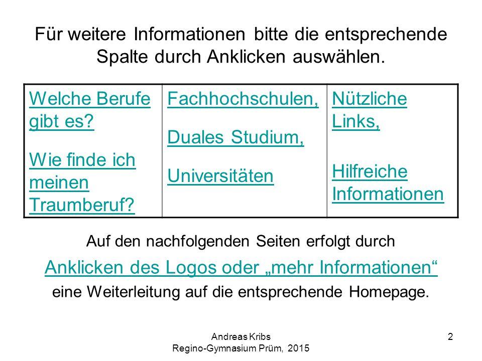 Andreas Kribs Regino-Gymnasium Prüm, 2015 2 Für weitere Informationen bitte die entsprechende Spalte durch Anklicken auswählen. Auf den nachfolgenden