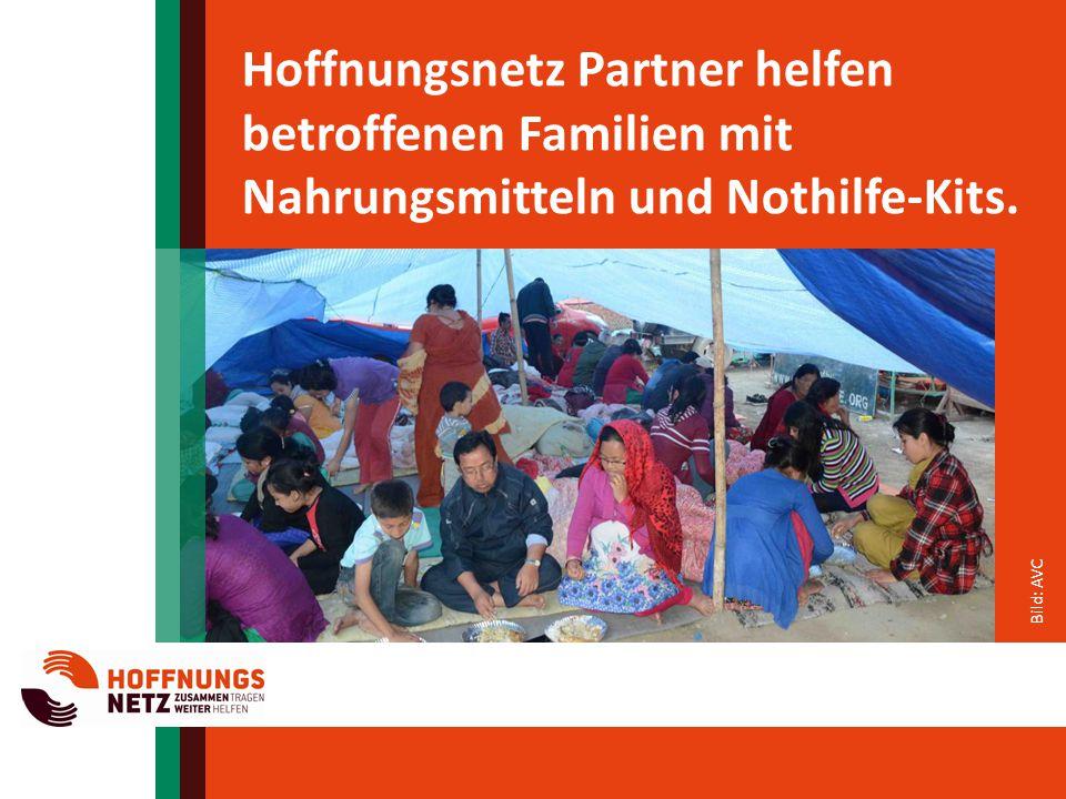 Bild: AVC Hoffnungsnetz Partner helfen betroffenen Familien mit Nahrungsmitteln und Nothilfe-Kits.