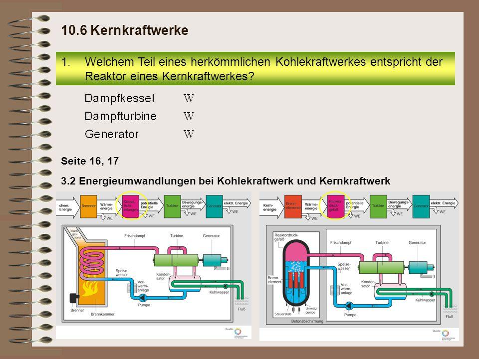 3.2 Energieumwandlungen bei Kohlekraftwerk und Kernkraftwerk Seite 16, 17 1.Welchem Teil eines herkömmlichen Kohlekraftwerkes entspricht der Reaktor eines Kernkraftwerkes.