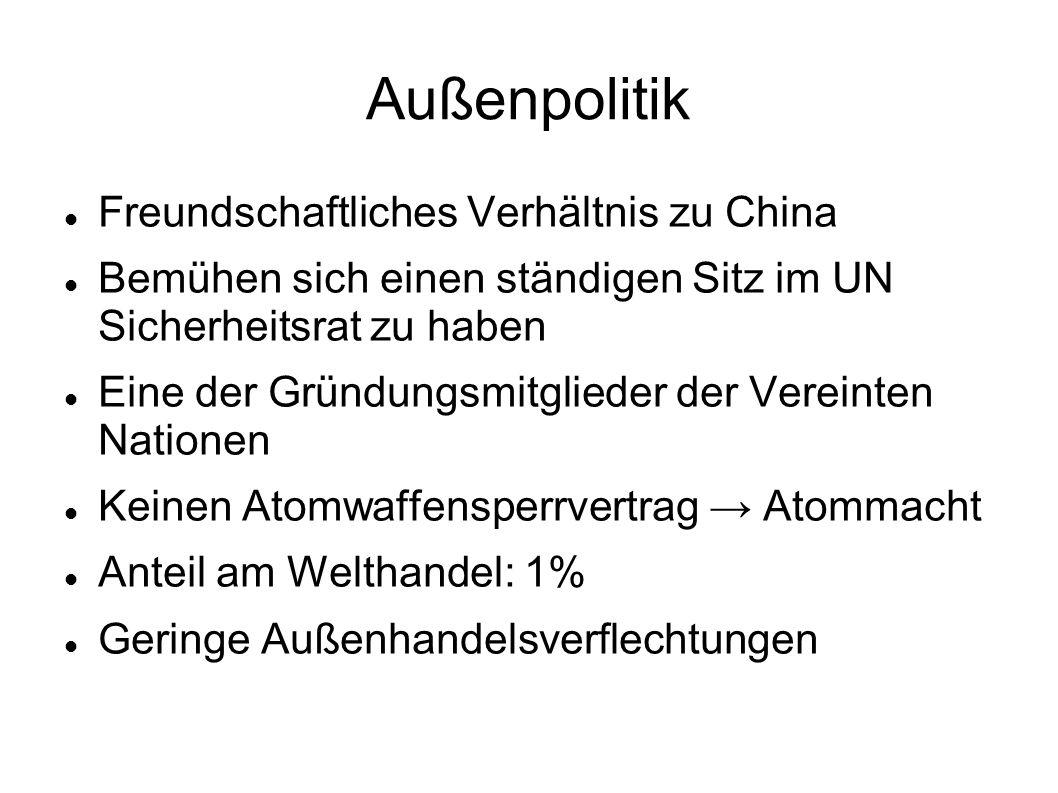 Außenpolitik Freundschaftliches Verhältnis zu China Bemühen sich einen ständigen Sitz im UN Sicherheitsrat zu haben Eine der Gründungsmitglieder der V
