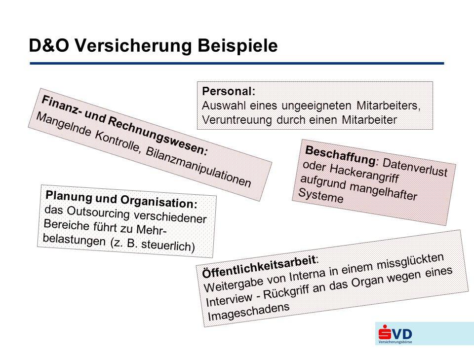 D&O Versicherung Beispiele Finanz- und Rechnungswesen: Mangelnde Kontrolle, Bilanzmanipulationen Personal: Auswahl eines ungeeigneten Mitarbeiters, Ve