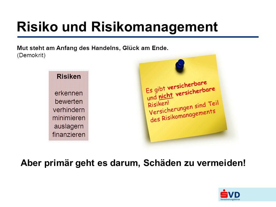 Risiko und Risikomanagement Aber primär geht es darum, Schäden zu vermeiden! Es gibt versicherbare und nicht versicherbare Risiken! Versicherungen sin