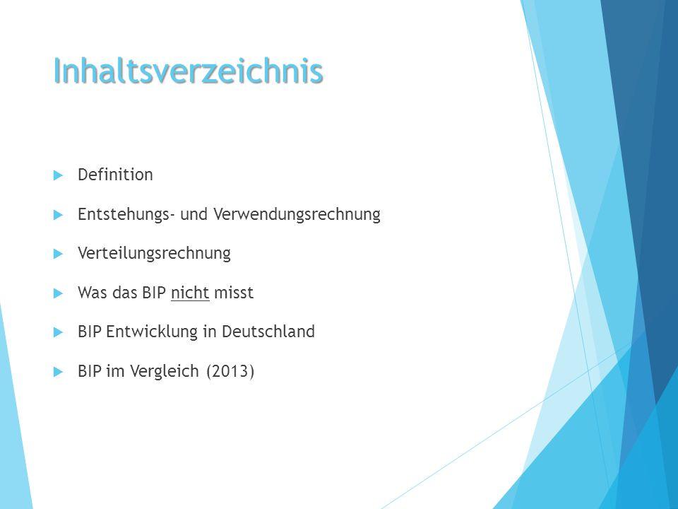 Inhaltsverzeichnis  Definition  Entstehungs- und Verwendungsrechnung  Verteilungsrechnung  Was das BIP nicht misst  BIP Entwicklung in Deutschlan