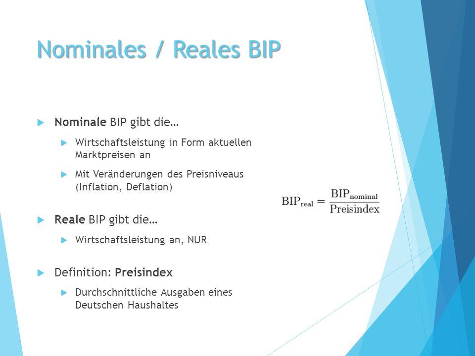 Nominales / Reales BIP  Nominale BIP gibt die…  Wirtschaftsleistung in Form aktuellen Marktpreisen an  Mit Veränderungen des Preisniveaus (Inflatio
