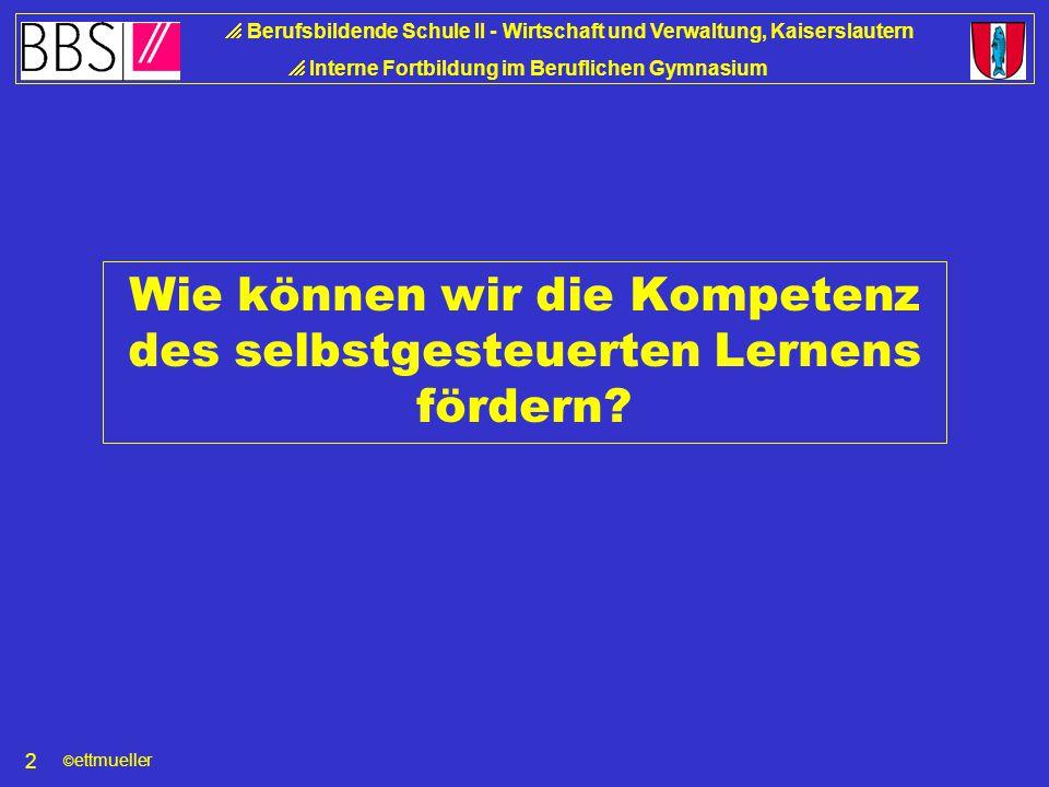 © ettmueller  Berufsbildende Schule II - Wirtschaft und Verwaltung, Kaiserslautern  Interne Fortbildung im Beruflichen Gymnasium 2 Wie können wir die Kompetenz des selbstgesteuerten Lernens fördern?
