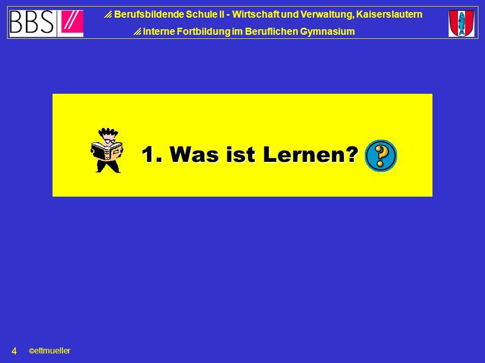 © ettmueller  Berufsbildende Schule II - Wirtschaft und Verwaltung, Kaiserslautern  Interne Fortbildung im Beruflichen Gymnasium 4 1.