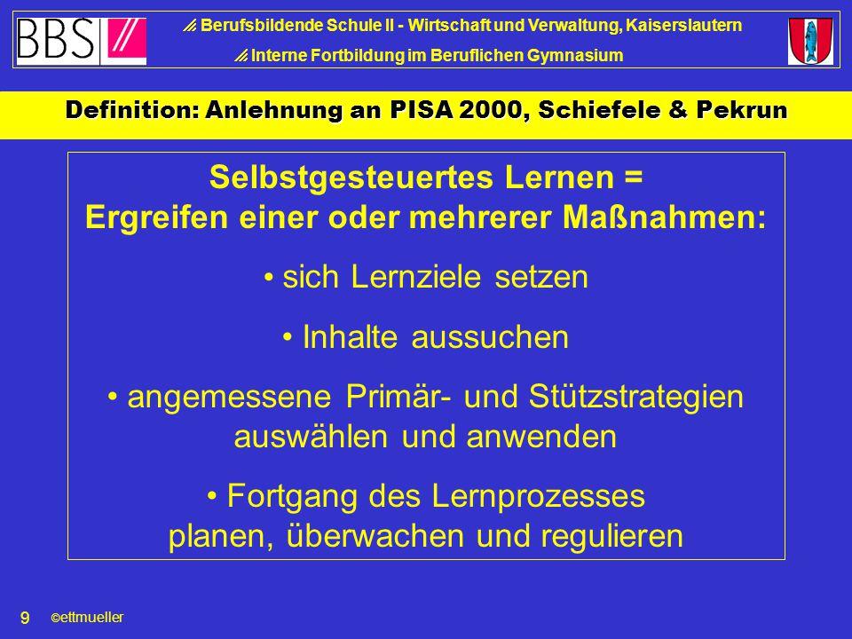 © ettmueller  Berufsbildende Schule II - Wirtschaft und Verwaltung, Kaiserslautern  Interne Fortbildung im Beruflichen Gymnasium 19 Vielen Dank für Ihre Aufmerksamkeit !