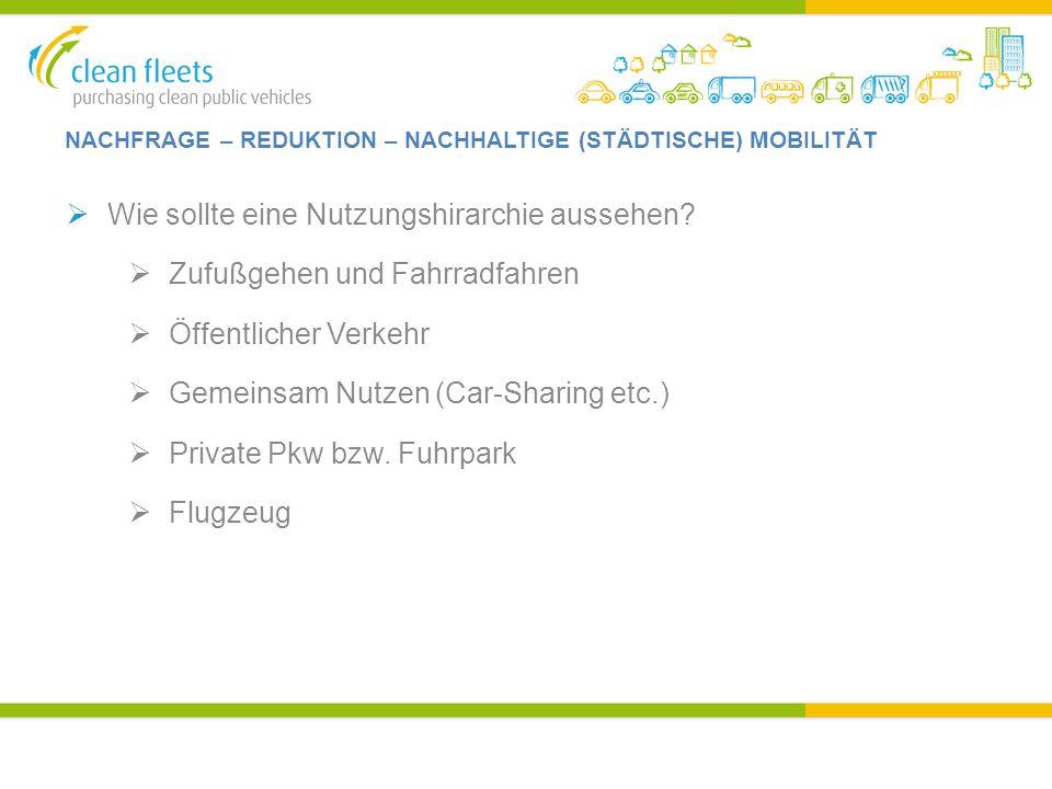 NACHFRAGE – REDUKTION – NACHHALTIGE (STÄDTISCHE) MOBILITÄT  Wie sollte eine Nutzungshirarchie aussehen?  Zufußgehen und Fahrradfahren  Öffentlicher