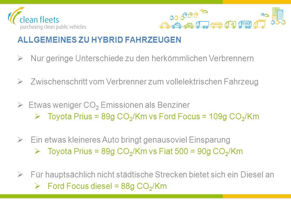 ALLGEMEINES ZU HYBRID FAHRZEUGEN  Nur geringe Unterschiede zu den herkömmlichen Verbrennern  Zwischenschritt vom Verbrenner zum vollelektrischen Fahrzeug  Etwas weniger CO 2 Emissionen als Benziner  Toyota Prius = 89g CO 2 /Km vs Ford Focus = 109g CO 2 /Km  Ein etwas kleineres Auto bringt genausoviel Einsparung  Toyota Prius = 89g CO 2 /Km vs Fiat 500 = 90g CO 2 /Km  Für hauptsächlich nicht städtische Strecken bietet sich ein Diesel an  Ford Focus diesel = 88g CO 2 /Km