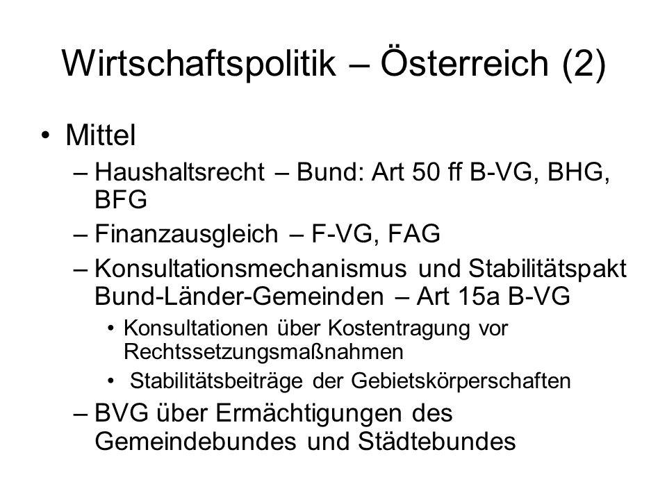 Wirtschaftspolitik – Österreich (2) Mittel –Haushaltsrecht – Bund: Art 50 ff B-VG, BHG, BFG –Finanzausgleich – F-VG, FAG –Konsultationsmechanismus und
