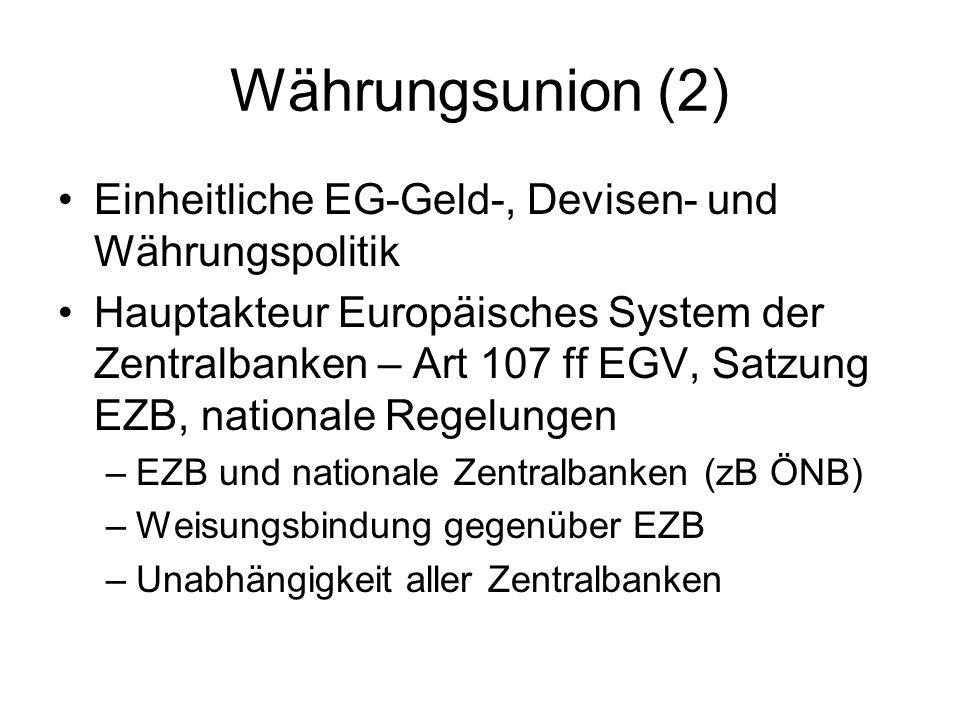 Währungsunion (3) Ziel Preisstabilität – Art 105 (1) EGV –Unterstützung Wirtschaftspolitik nur subsidiär Aufgaben – Art 105 (2)(4), 106 EGV –Zinsfestlegung, Mindestreserven –Handel mit Fremdwährungen –Verwaltung von Währungsreserven –Unterstützung grenzüberschreitender Zahlungssysteme –Mitwirkung bei Bankenaufsicht –Ausgabe von Banknoten und Münzen