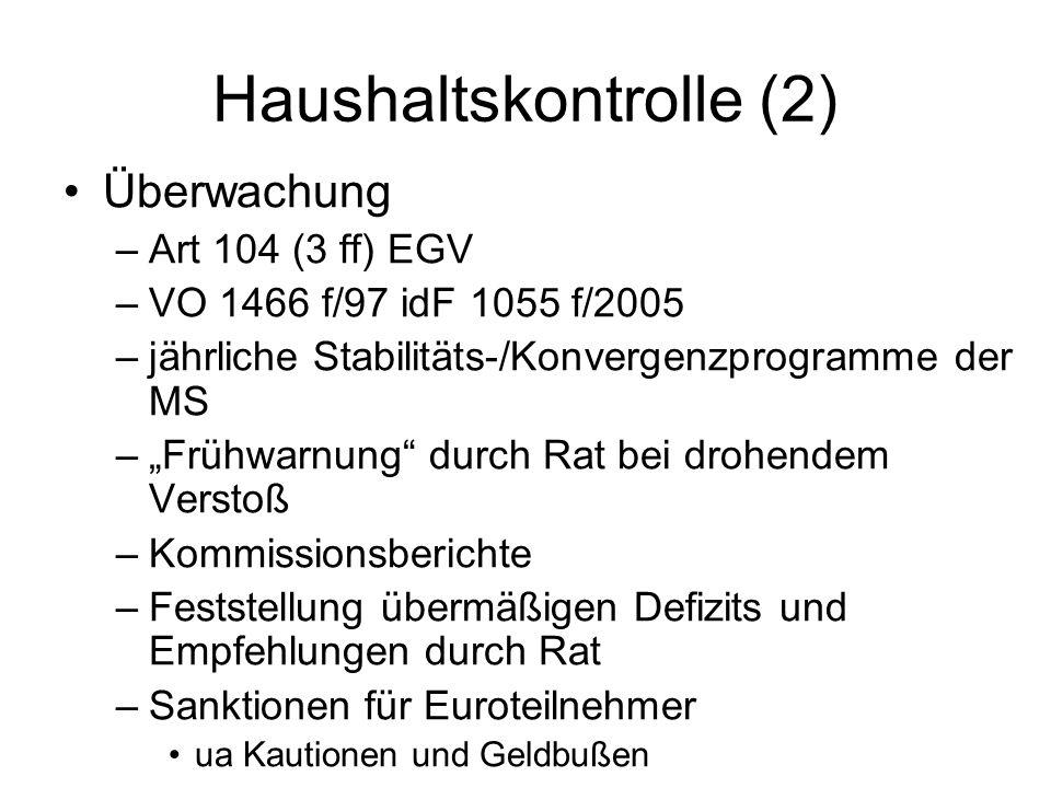 """Haushaltskontrolle (2) Überwachung –Art 104 (3 ff) EGV –VO 1466 f/97 idF 1055 f/2005 –jährliche Stabilitäts-/Konvergenzprogramme der MS –""""Frühwarnung"""""""