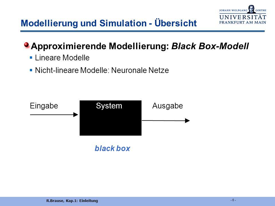 R.Brause, Kap.1: Einleitung - 6 - Modellierung und Simulation - Übersicht Approximierende Modellierung: Black Box-Modell  Lineare Modelle  Nicht-lineare Modelle: Neuronale Netze EingabeSystem Ausgabe black box