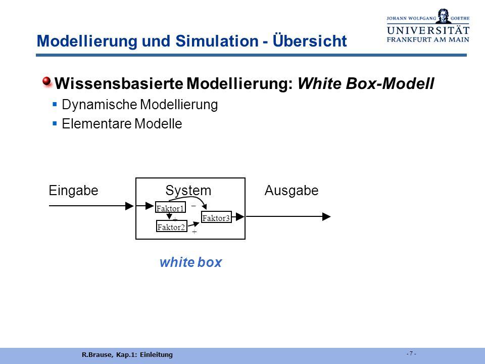 R.Brause, Kap.1: Einleitung - 7 - Modellierung und Simulation - Übersicht Wissensbasierte Modellierung: White Box-Modell  Dynamische Modellierung  Elementare Modelle Eingabe System Ausgabe white box Faktor1 Faktor2 Faktor3 + – +
