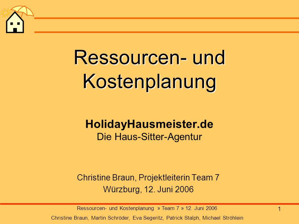 1 Ressourcen- und Kostenplanung Ressourcen- und Kostenplanung HolidayHausmeister.de Die Haus-Sitter-Agentur Christine Braun, Projektleiterin Team 7 Wü