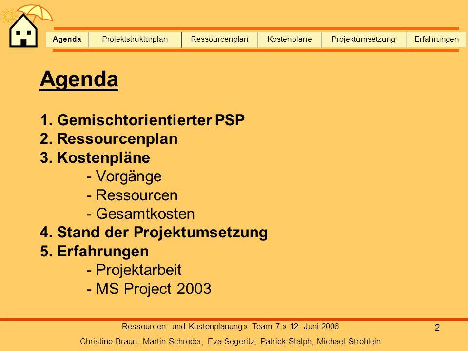 2 Agenda 1. Gemischtorientierter PSP 2. Ressourcenplan 3. Kostenpläne - Vorgänge - Ressourcen - Gesamtkosten 4. Stand der Projektumsetzung 5. Erfahrun