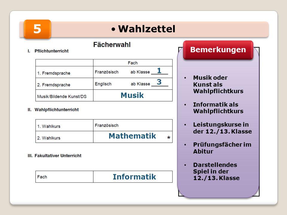 5 1 3 Musik Mathematik Informatik Musik oder Kunst als Wahlpflichtkurs Informatik als Wahlpflichtkurs Leistungskurse in der 12./13. Klasse Prüfungsfäc