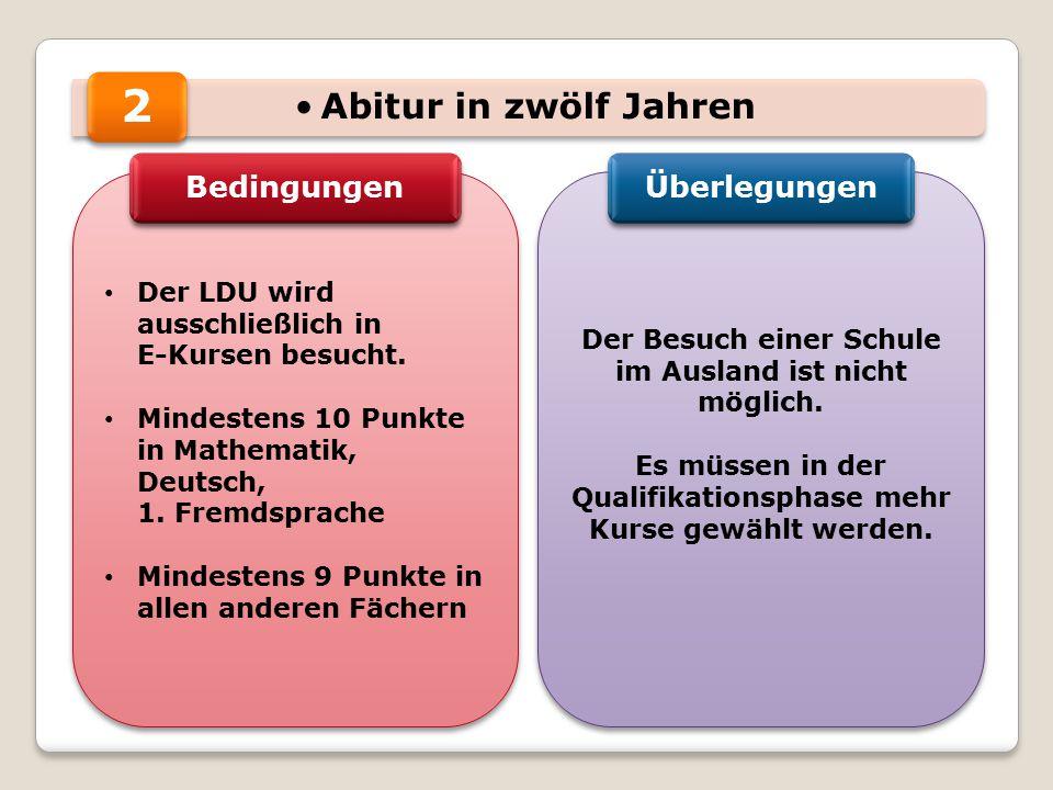 Abitur in zwölf Jahren Der LDU wird ausschließlich in E-Kursen besucht. Mindestens 10 Punkte in Mathematik, Deutsch, 1. Fremdsprache Mindestens 9 Punk