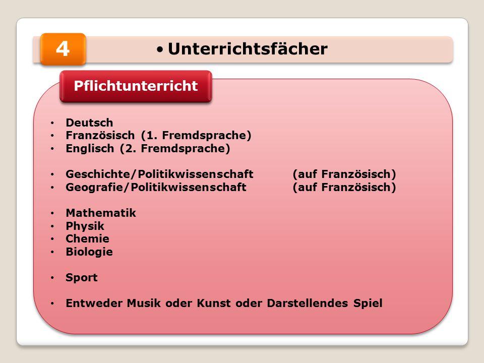 Unterrichtsfächer Deutsch Französisch (1. Fremdsprache) Englisch (2. Fremdsprache) Geschichte/Politikwissenschaft (auf Französisch) Geografie/Politikw