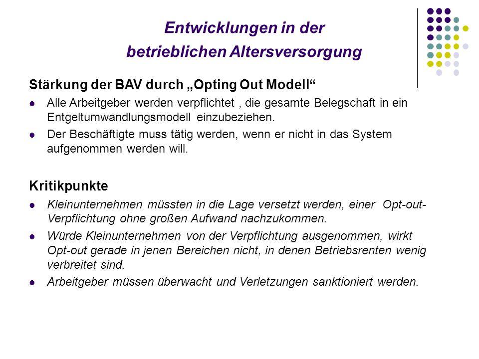"""Entwicklungen in der betrieblichen Altersversorgung Stärkung der BAV durch """"Opting Out Modell Alle Arbeitgeber werden verpflichtet, die gesamte Belegschaft in ein Entgeltumwandlungsmodell einzubeziehen."""